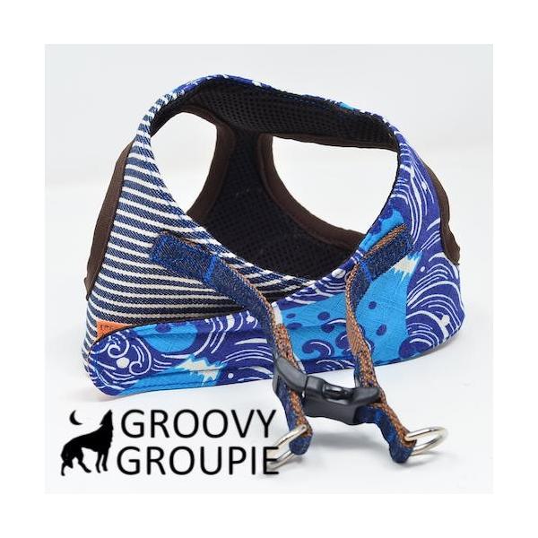 小型犬用 ハーネス  ソフトハーネス ベスト型  犬 胴輪 ボディハーネス 日本製 着物風|groovygroupie|10