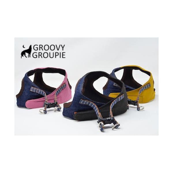 小型犬用 ハーネス  ソフト ベスト型  ツイル&デニム  犬 胴輪 ボディハーネス 日本製  groovygroupie 02