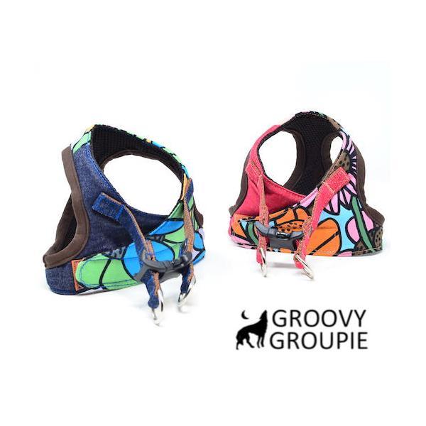 小型犬用 ハーネス  ソフト ベスト型  南国の庭&デニム  犬 胴輪 ボディハーネス 日本製  groovygroupie 05