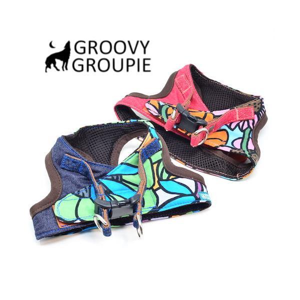 小型犬用 ハーネス  ソフト ベスト型  南国の庭&デニム  犬 胴輪 ボディハーネス 日本製  groovygroupie 06