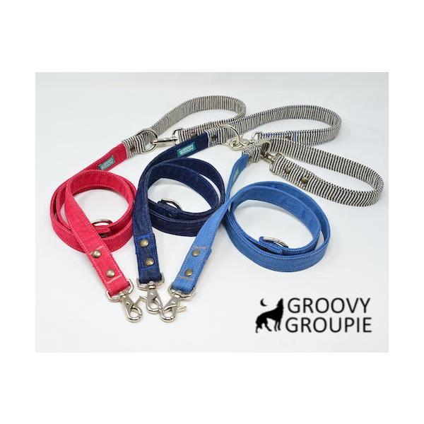 デニム&ヒッコリー!3way 長さ調節可能カフェリード 【小型犬.中型犬】|groovygroupie