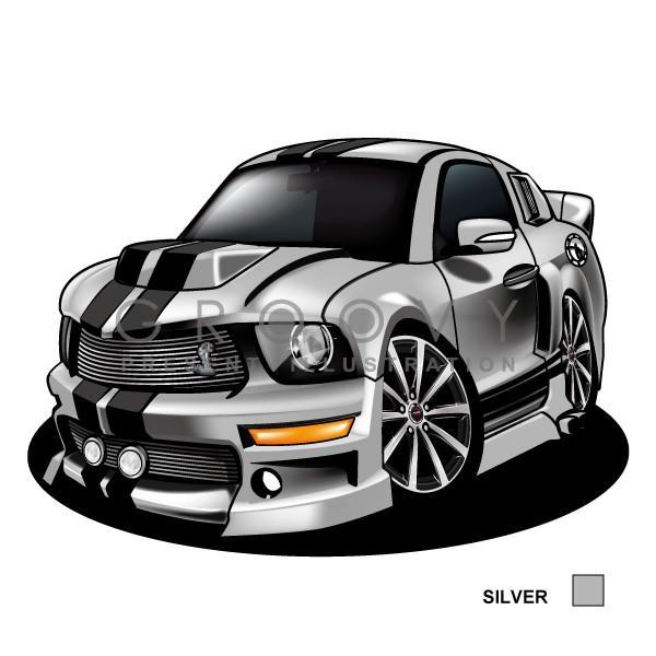 フォード シェルビーマスタング 車イラスト a4版高級フレーム グルービー