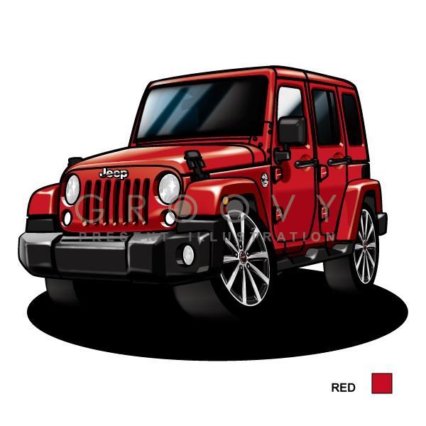 ジープラングラー アンリミテッド車イラスト2l版グルービー Jeep