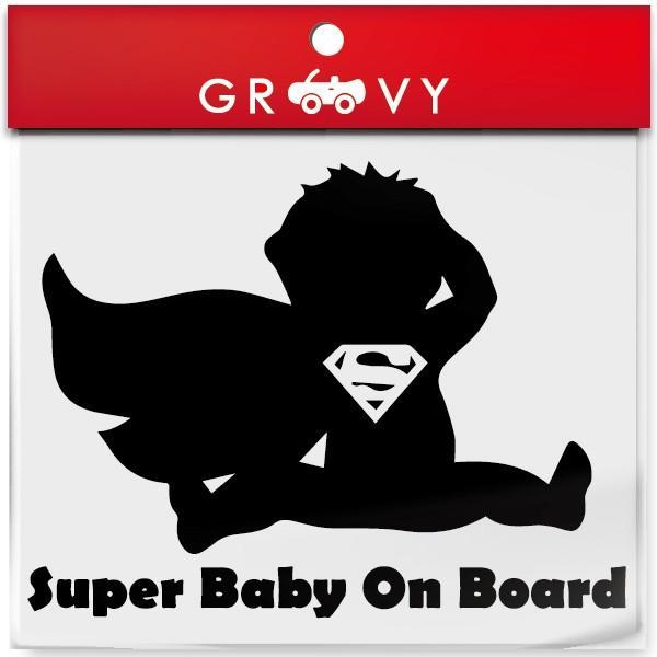 Super Baby On Board 赤ちゃん 子供 ステッカー ベビーインカー スーパー 面白い かわいい パロディ おしゃれ かわいい