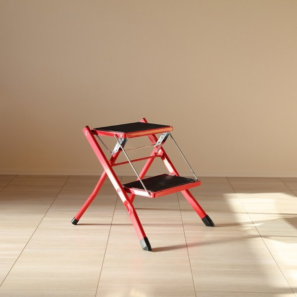 ・AST-SP レッド 脚立 折りたたみ 踏み台 ステップ台 ステップスツール 折り畳み かわいい 収納 おしゃれ ディスプレイ棚