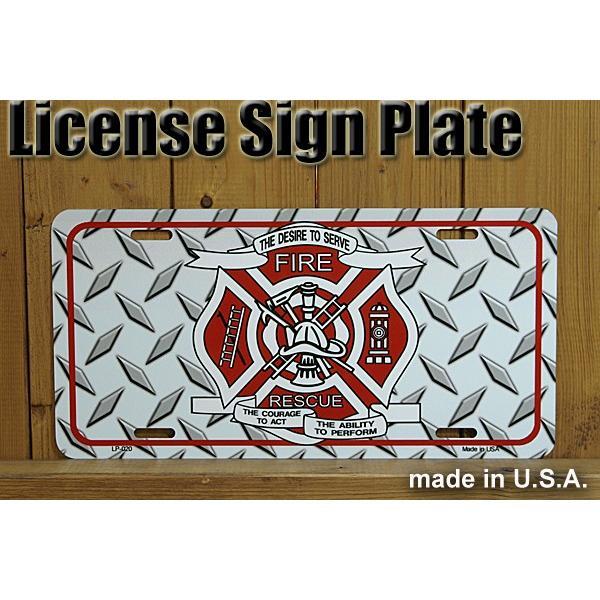 サインボード 看板 FIRE FIGHTER アメリカの消防士 ファイヤーファイター ライセンスプレート gs-cart