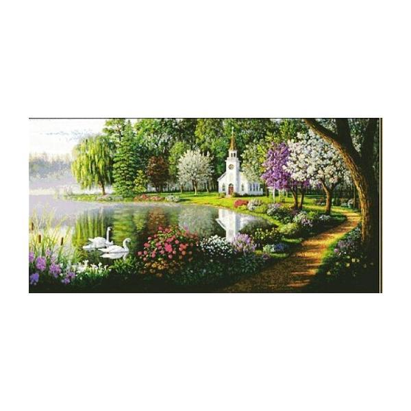 ししゅう糸 DMC糸 クロスステッチ刺繍キット 布地に図柄印刷 美麗公園