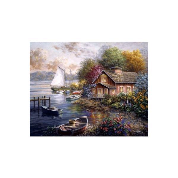 ししゅう糸 DMC糸 クロスステッチ刺繍キット 布地に図柄印刷 海辺小屋