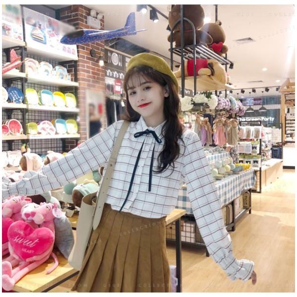 送料無料 v 長袖 レディース ファッション ブラウス チェック柄 トップス 体型カバー 大人フェミニン 可愛い 女子|gsgs-shopping|11