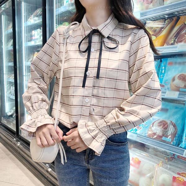 送料無料 v 長袖 レディース ファッション ブラウス チェック柄 トップス 体型カバー 大人フェミニン 可愛い 女子|gsgs-shopping|08