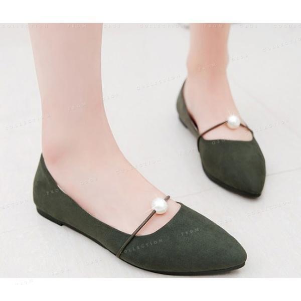 パンプス ぺたんこ 靴 婦人靴 美脚 痛くない 通勤 レディースシューズ ローヒール
