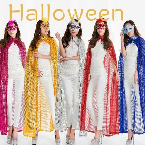 ハロウィン コスプレ 衣装  魔女 セット 肩掛け ストール マント ケープ クローク フェアリー マジシャン 海賊 帽子 ピンク ラメ スパンコール|gsgs-shopping