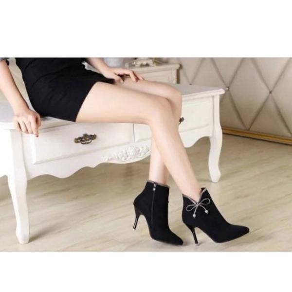 シューズ ブーツ ブーティー ショートブーツ 女性靴 レディース アンクルブーツ ハイヒール スエード リボン 可愛い ミドルソール ガーリー ファスナー