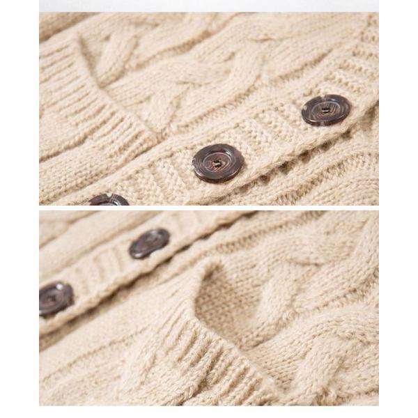 セーター ニット コート レディースファッション 女性 前開き Vネック カーディガン カーデ ケーブル編み ボタン カジュアル 休日気分に 無地|gsgs-shopping|12