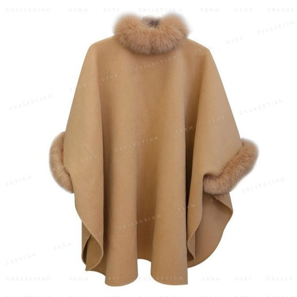 ポンチョ レディース マントコート 体型カバー ファー付き 大きいサイズ 着痩せ 秋冬 gsgs-shopping 05