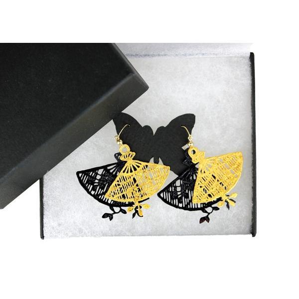 KIRIE BIJOU 茜(キリエビジュー あかね)ピアス レディース アクセサリー 切絵 金箔 漆塗り 着物に似合う 両耳ピアス 【送料無料】|gtsc|02