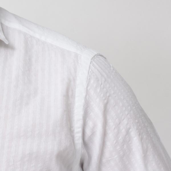 Giannetto(ジャンネット)コットンシアサッカーシャドーストライプセミワイドカラーシャツ VINCI FIT/AG29130V81 11091002109◇◇|guji|06