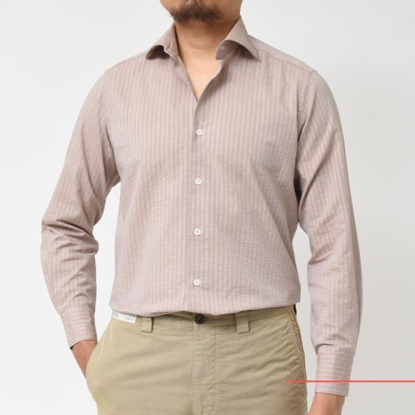 Giannetto(ジャンネット)コットンシアサッカーシャドーストライプセミワイドカラーシャツ VINCI FIT/AG29130V81 11091002109◇◇|guji|09