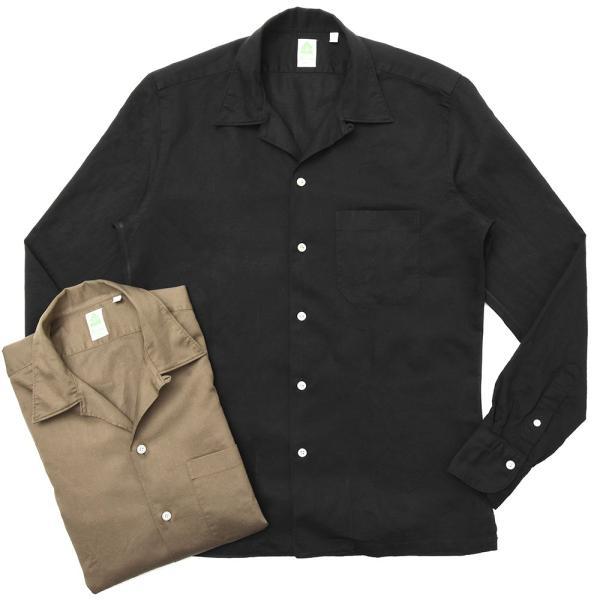 Finamore(フィナモレ)MILOSミロス ウォッシュドコットンリネンツイルソリッドオープンカラーシャツ P9056 11091009039|guji