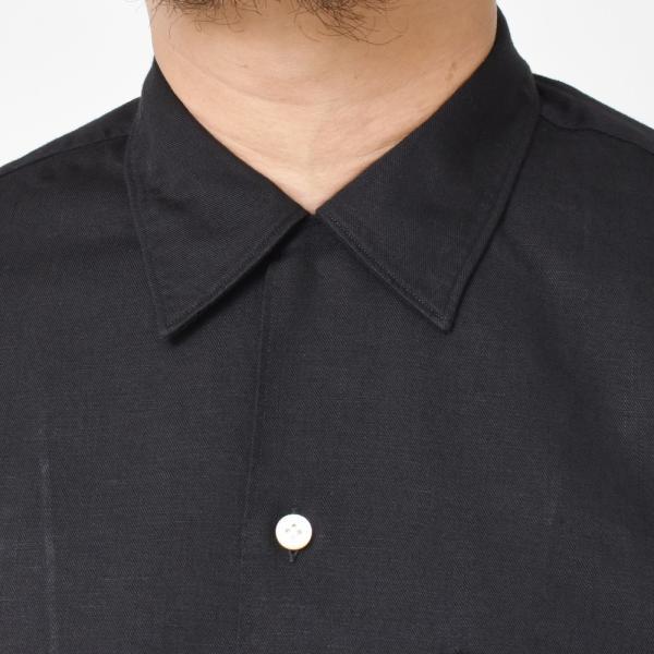 Finamore(フィナモレ)MILOSミロス ウォッシュドコットンリネンツイルソリッドオープンカラーシャツ P9056 11091009039|guji|12