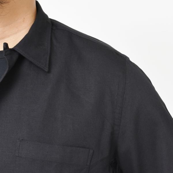 Finamore(フィナモレ)MILOSミロス ウォッシュドコットンリネンツイルソリッドオープンカラーシャツ P9056 11091009039|guji|13