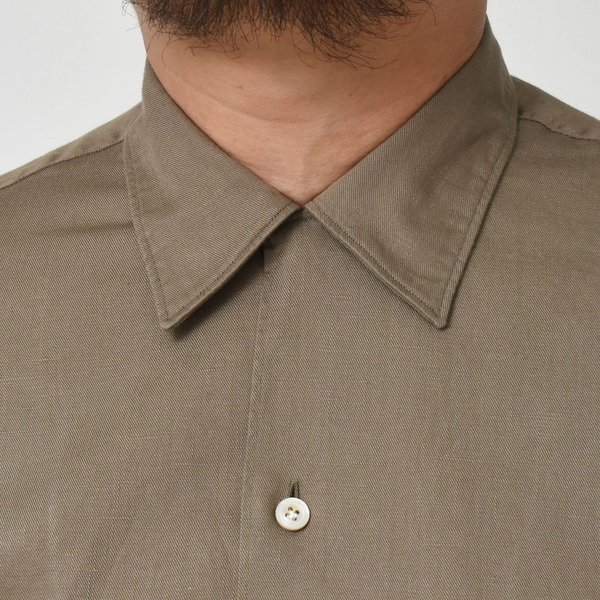 Finamore(フィナモレ)MILOSミロス ウォッシュドコットンリネンツイルソリッドオープンカラーシャツ P9056 11091009039|guji|05