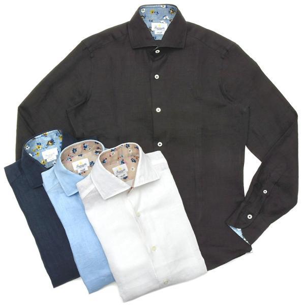 【SALE30】Giannetto(ジャンネット)リネンソリッドフラワーコンビセミワイドカラーシャツ VINCI FIT/AG8333PV81 11091011109◇◇|guji
