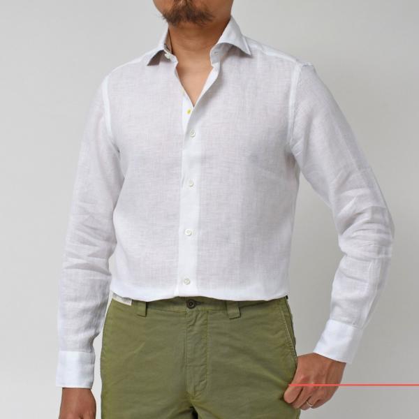 【SALE30】Giannetto(ジャンネット)リネンソリッドフラワーコンビセミワイドカラーシャツ VINCI FIT/AG8333PV81 11091011109◇◇|guji|02