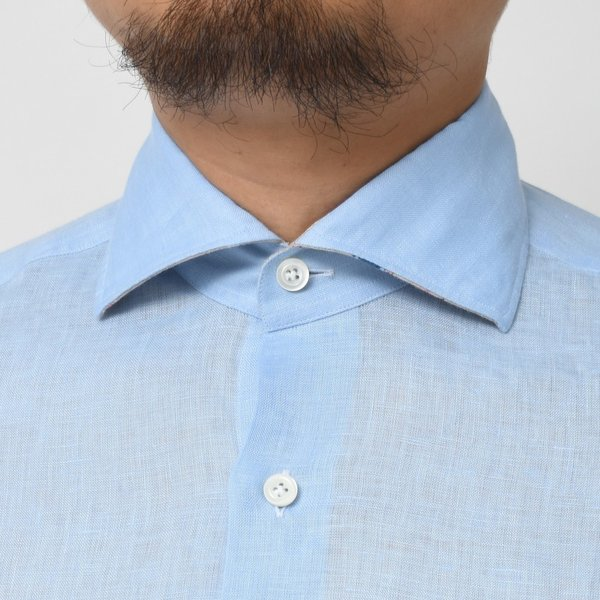 【SALE30】Giannetto(ジャンネット)リネンソリッドフラワーコンビセミワイドカラーシャツ VINCI FIT/AG8333PV81 11091011109◇◇|guji|12