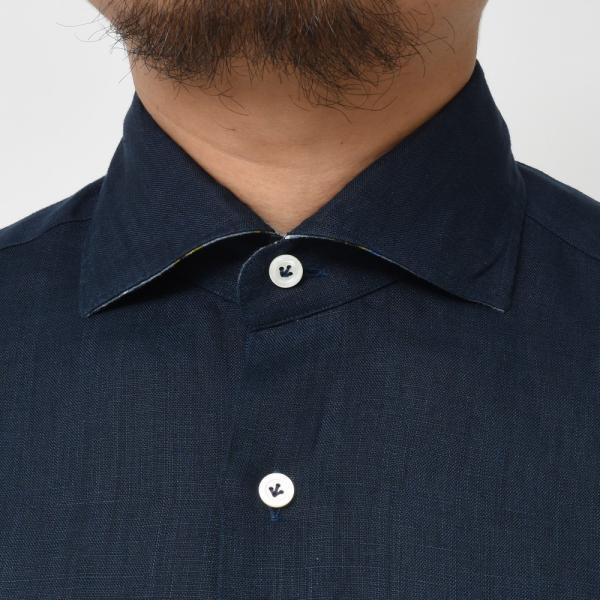 【SALE30】Giannetto(ジャンネット)リネンソリッドフラワーコンビセミワイドカラーシャツ VINCI FIT/AG8333PV81 11091011109◇◇|guji|20