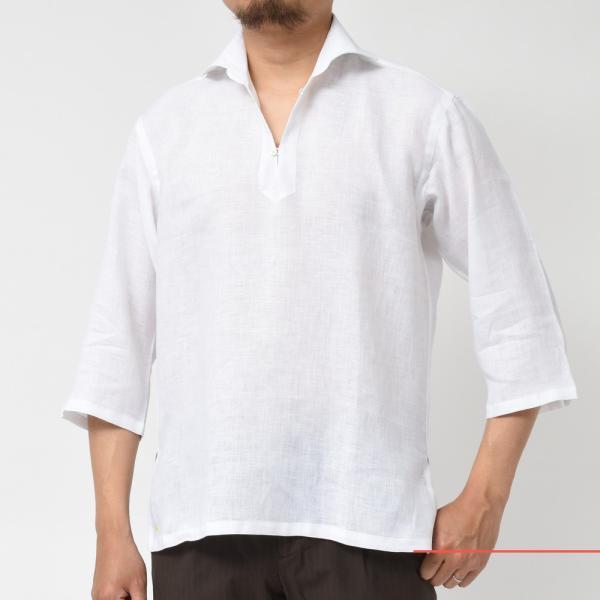 【SALE30】Giannetto(ジャンネット)リネンソリッドカプリシャツ AG833SUM84 11091012109 guji 02