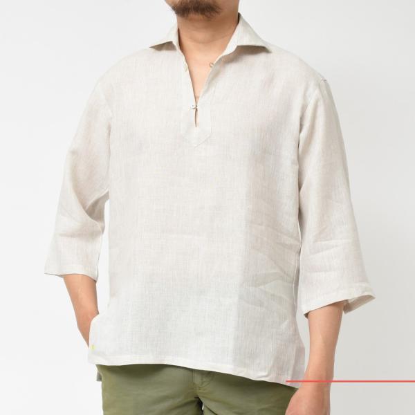 【SALE30】Giannetto(ジャンネット)リネンソリッドカプリシャツ AG833SUM84 11091012109 guji 08