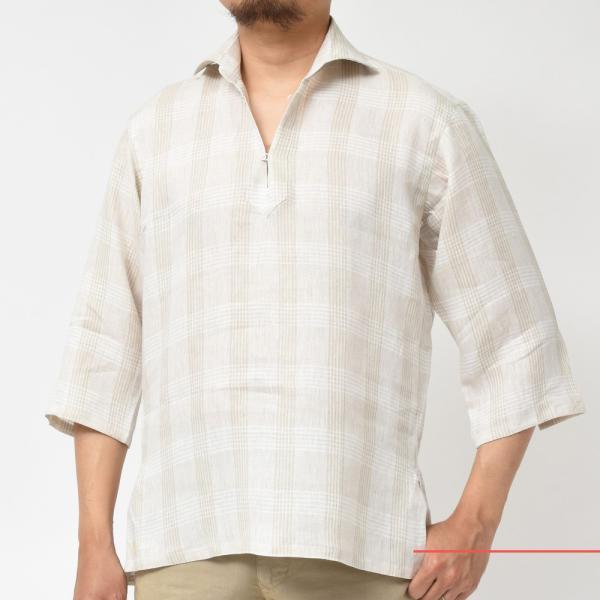 【SALE30】Giannetto(ジャンネット)リネングレンチェックカプリシャツ AG884SUM84 11091013109 guji 02