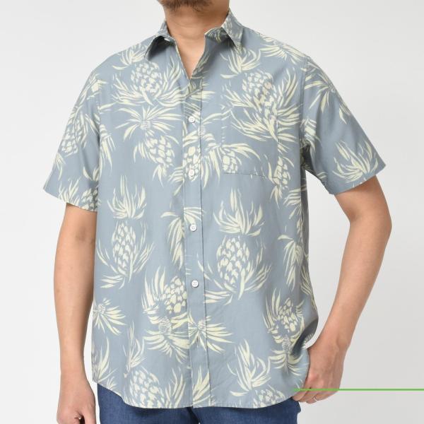 SeaGreen(シーグリーン)コットンボタニカルレギュラーカラーS/Sシャツ MSG19S765 11091400043|guji|02