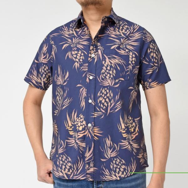 SeaGreen(シーグリーン)コットンボタニカルレギュラーカラーS/Sシャツ MSG19S765 11091400043|guji|07