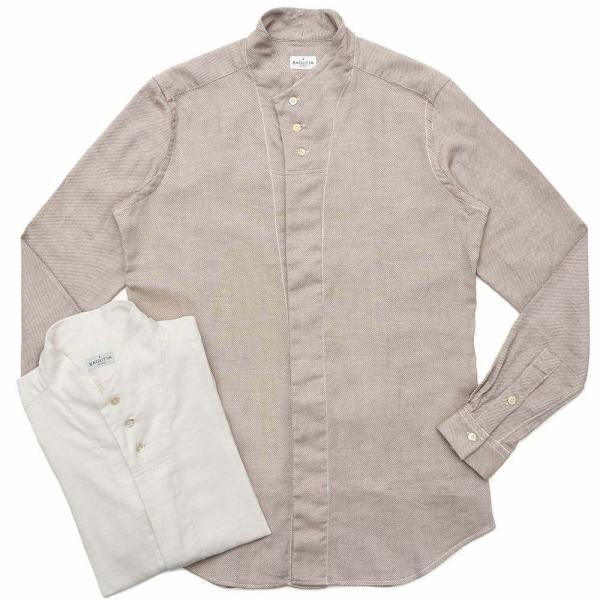Bagutta(バグッタ)コットンダイアゴナルフランネルソリッドハイネックシャツ NECK GBL/09553 11092001054|guji