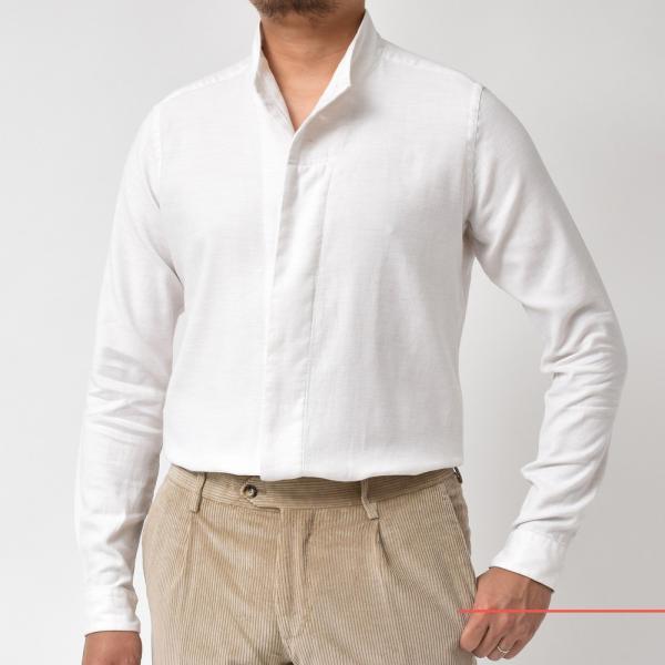 Bagutta(バグッタ)コットンダイアゴナルフランネルソリッドハイネックシャツ NECK GBL/09553 11092001054|guji|02