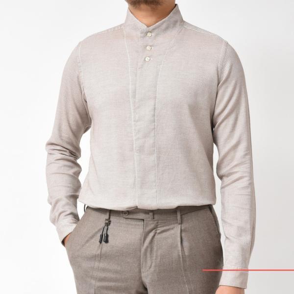 Bagutta(バグッタ)コットンダイアゴナルフランネルソリッドハイネックシャツ NECK GBL/09553 11092001054|guji|08