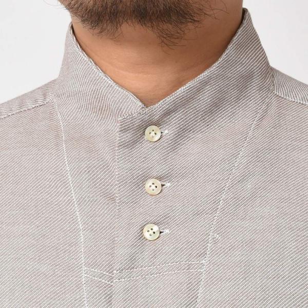 Bagutta(バグッタ)コットンダイアゴナルフランネルソリッドハイネックシャツ NECK GBL/09553 11092001054|guji|10