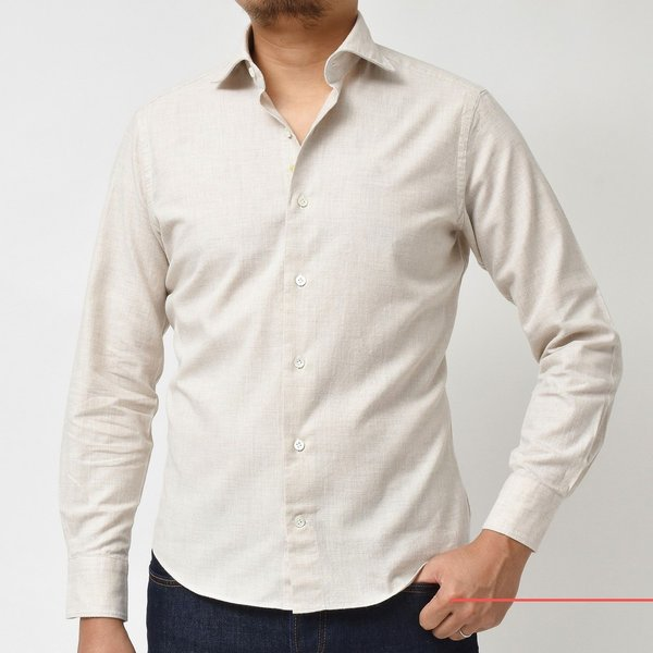 Giannetto(ジャンネット)コットンメランジライトネルセミワイドカラーシャツ VINCI FIT/92031520300V81 11096000109|guji|02