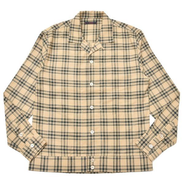 THE GIGI(ザ ジジ)BELL コットンネルタータンチェックオープンカラーシャツジャケット L900 11096400039|guji