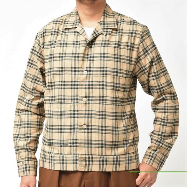 THE GIGI(ザ ジジ)BELL コットンネルタータンチェックオープンカラーシャツジャケット L900 11096400039|guji|02