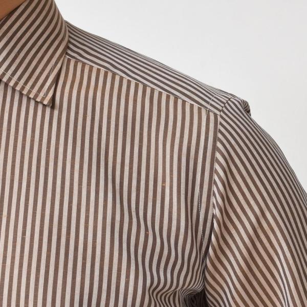 Bagutta(バグッタ)コットンリネンロンドンストライプセミワイドカラーシャツ 389GL/09072 11191201054|guji|05