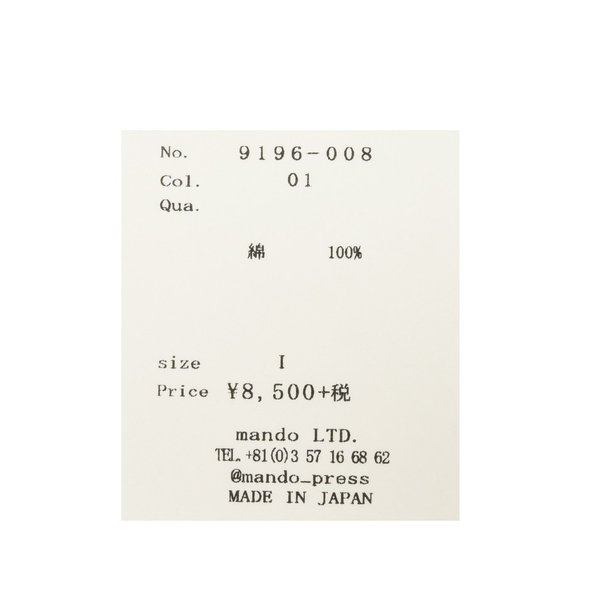 mando(マンドー)コットンプリントS/Sカットソー 9196-008 12191401037|guji|13