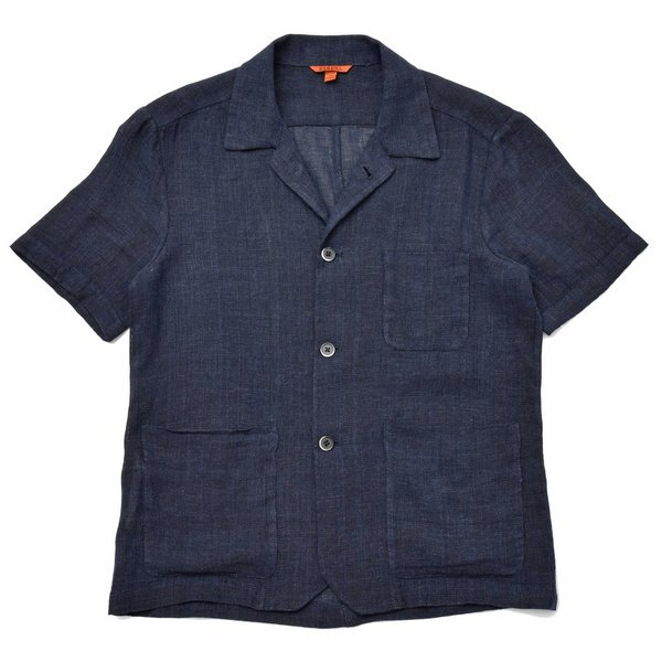 BARENA(バレナ) リネンコットンジャガードメッシュオープンカラーS/Sシャツ OSU2167 17091401025|guji