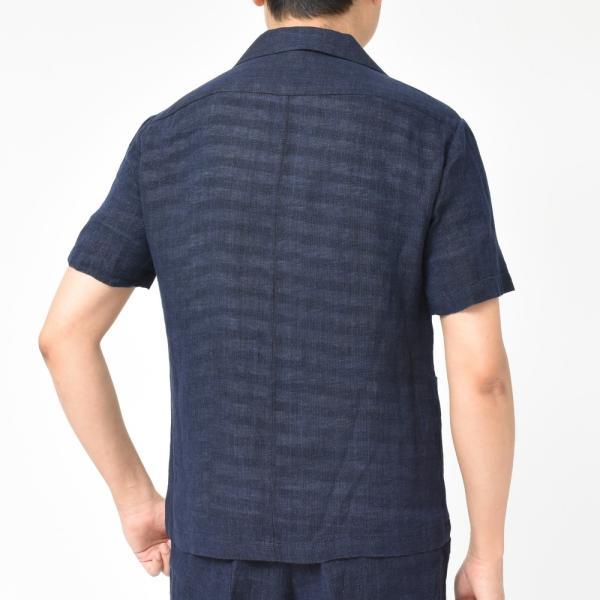 BARENA(バレナ) リネンコットンジャガードメッシュオープンカラーS/Sシャツ OSU2167 17091401025|guji|04