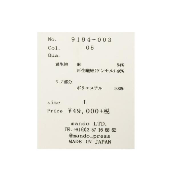 mando(マンド)ガーメントダイリネンテンセルボンバージャケット 9194-003-05 17091402037|guji|14