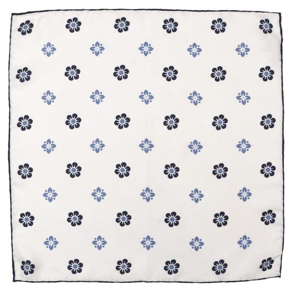 FRANCO BASSI(フランコ バッシ)シルクツイル小紋フラワープリントチーフ U19E-5008 18691202082 guji 02