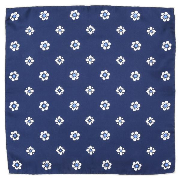 FRANCO BASSI(フランコ バッシ)シルクツイル小紋フラワープリントチーフ U19E-5008 18691202082 guji 03