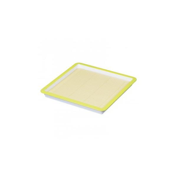 【ネコポス不可】パール金属 彩創 麺プレート 角 すのこ付グリーン HB-649【A】【キャンセル・返品不可】